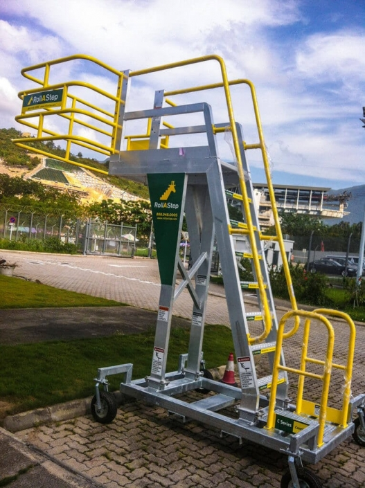 A popular product in wineries and for accessing the top of trucks 527x705 Rolling Stairs and Work Platforms